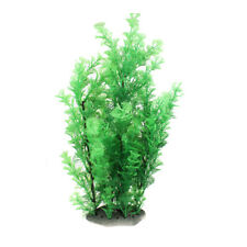 "Ceramic Base Manmade Plastic Green Grass Plants 16.5"" High for Fish Tank"