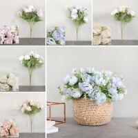 Roses Artificial Peony Fake Silk Flowers Bridal Wedding Bouquet Home Room Decor