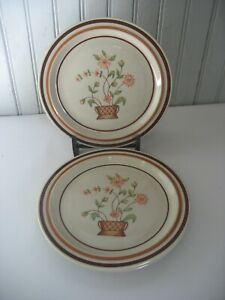 S/3 Vintage Newcor Tradition SALAD PLATE  Floral w Brown bands Japan stoneware