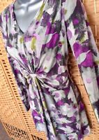 LAURA ASHLEY Long Tunic Top Sz 12 Stretchy Ruched LAGENLOOK Floral Print HOLIDAY