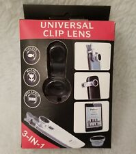 NEW IN BOX Universal 3 in 1 Clip On Camera Lens Kit Wide Angle Fish Eye Macro