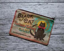 Black Cat Fortune Poly Mesh Zipper Pouch Cosmetic Makeup Bag Halloween