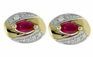 14k Yellow Gold Men's Cufflinks With Natural Ruby Gemstone