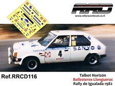 DECAL/CALCA 1/43; Talbot Horizon; Ballesteros-Llongueras; Rally de Igualada 1982