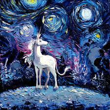 Last Unicorn Starry Night Fantasy Wall Art Print Poster Home Nursery Decor Aja