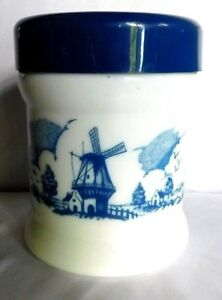 (1) Vintage Blue And White Cigar Humidor Canisters W/Lid -  Ships/Windmills