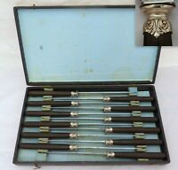 Antique French Set 12x knives Sterling Collar Table Dinner Ebonized Handles 19TH