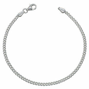925 Solid Sterling Silver CURB chain BRACELET 2.4mm NEW