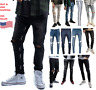 Mens Denim Ripped Skinny Fit Stretch Slim Fit Biker Pants Destroyed Ripped Jeans