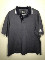 Vtg Starter Navy Blue Collared Polo Shirt Mens size Large Free Shipping