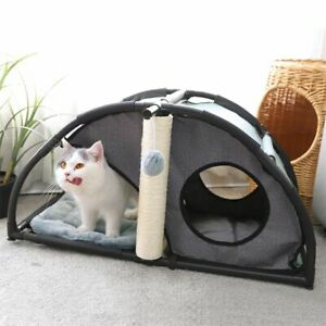 Cat Condo House Two Story Nest Multifunctional Bed Scratching Post For Kittens