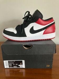 Nike Air Jordan 1 Retro Low  Black Toe 553558-116 Size 10