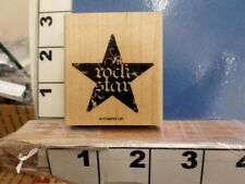 Stampin Up Rock Star saying in star  RUBBER STAMP 8b