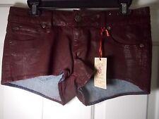 New Decree Juniors Red Burgundy Mini Hot Boyfriend Denim Shorts Size 5 - Cute!