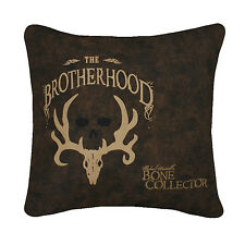 "Bone Collector The Brotherhood Pillow Brown 20""x20"" Square Deer Skull Antler"
