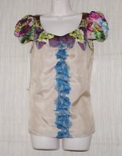 Leifsdottir Beige Floral Silk Short Sleeve Blouse Size: 4