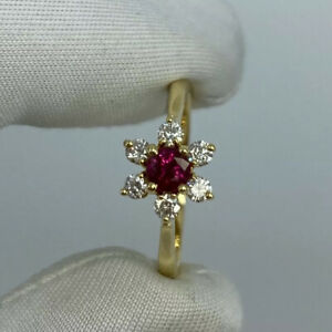 FINE Tiffany & Co. Ruby & Diamond Buttercup Flower 18k Yellow Gold Cluster Ring
