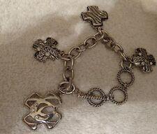 Silvertone Bracelet with Charms Cross Rhinestones