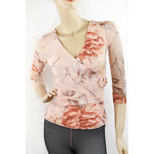 New VICTORIAS SECRET Rose Print Mesh Net Faux Wrap Blouse 3/4 Sleeve Top XS