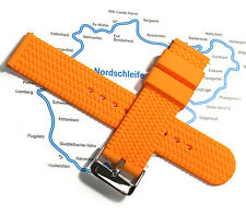 20mm Rubber Strap Orange Rally Race Tire Pattern Band Quick Release Spring Bars
