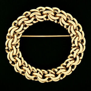 Vintage Tiffany & Co. 14k Yellow Gold Multi Chain Link Circle Wreath Brooch Pin