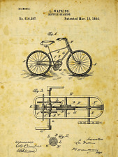 Bicycle Patent Drawing Metal Sign, Vintage, Sport, Den Décor, Office