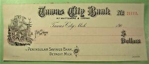 Bank Check, Tawas City Bank, Tawas City, Mich. 190__.  Deer vinette