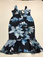 LIPSY LONDON Square Neck Belted Bodycon Dress Navy Floral  UK12 US8 EU40 (fj242)