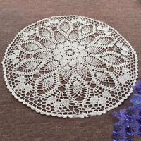White Vintage Crochet Lace Cotton Doilies Round Table Mats Doily Wedding 60cm