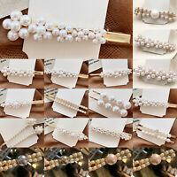 Womens Pearl Hair Clip Snap Barrette Grips Hairpin Slides Hair Band Accessories