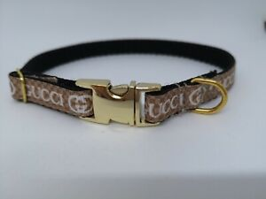 """Dog Collar 10"""" - 14"""" neck size.  FREE FABRIC DESIGN Gold or Silver Metal Buckle"""