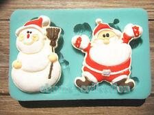 Santa Claus & Snowman Christmas Fondant Cake Mold Food Grade Silicone Soap Mould