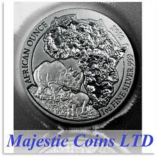 2012 Rwanda Rhino 50 Francs 1 Oz .999 Silver Map of Africa Mint Blister