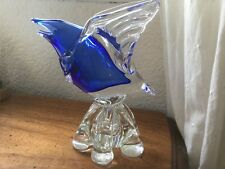 FANTASTIC BLOWN MURANO GLASS BIRD BUD VASE ART COBALT BLUE