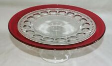 """Tiffin USA Kings Crown Ruby Flash Cake Stand 11 3/4"""""""