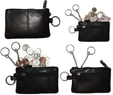 Lot of 4. Change purse, Leather Zip coin wallet 2 pocket coin case W/ key ring.