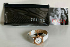 NEW! GUESS ROSE GOLD CASE WHITE LEATHER STRAP BRACELET WATCH W0545L1 $95 SALE