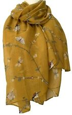 Mustard Yellow Scarf Ladies Woodpecker Birds Butterfly Bird Wrap Butterflies