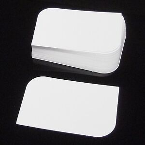 100 White Leaf Semi Rounded Blank Business Cards 250gsm, Stamp, Print, ATC.