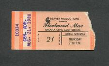 1980 Fleetwood Mac Rocky Burnette concert ticket stub Omaha Tusk Tour Sara