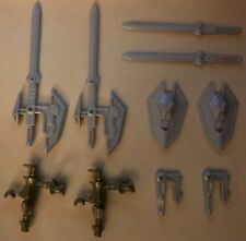1994 Playmates Superhuman Samurai Syber Squad Weapon Lot: SYNCH SWORDS & SHIELDS