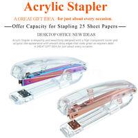 Acrylic Clear Desktop Stapler  Modern Business Design Office Desk Rose