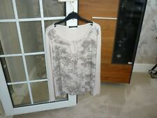Ashely Brooke top size 12 UK, beige, sequinned, long sleeves, stretchy, worn x 2