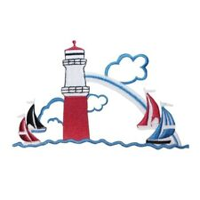 ID 1836 Lighthouse With Sailing Boats Patch Nautical Embroidered IronOn Applique