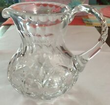 "Waterford Style Cut Lead Glass Crystal Pitcher Creamer Milk Syrup Honey~5"" Tall"