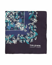 T.M.Lewin Mens Navy and Teal Vintage Floral Silk Pocket Square
