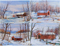 Mint VINTAGE Set of Four INDIANA Covered Bridge ART PRINTS W. Harold Hancock