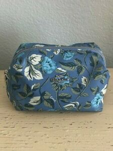 ~ Coach Boxy Slate Sleeping Rose Floral Cosmetic Make Up Bag Case NEW