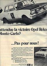 PUBLICITE ADVERTISING 1964   OPEL RECORD  la victoire de Monte Carlo