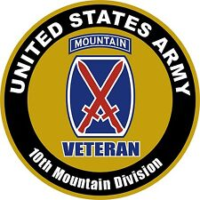 """United States Veteran Army 10th Mountain Division Aluminum Sign 11.75"""" Round"""